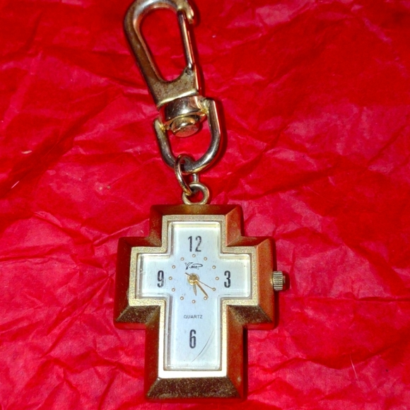 Clip-on gold cross watch